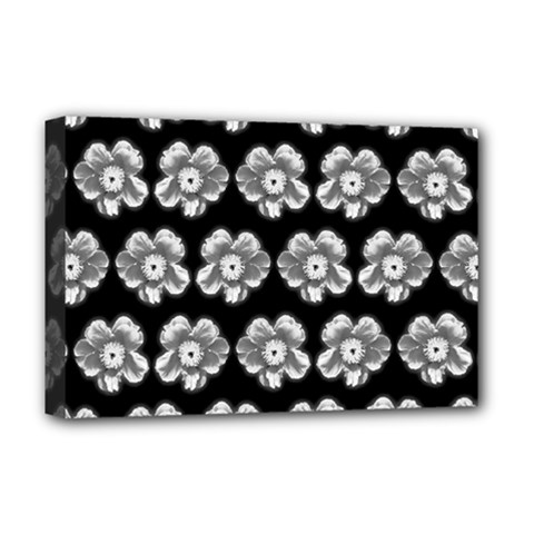 White Gray Flower Pattern On Black Deluxe Canvas 18  x 12