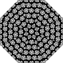 White Gray Flower Pattern On Black Golf Umbrellas