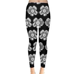 White Gray Flower Pattern On Black Leggings