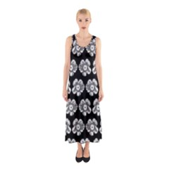 White Gray Flower Pattern On Black Sleeveless Maxi Dress