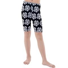 White Gray Flower Pattern On Black Kids  Mid Length Swim Shorts