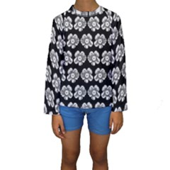 White Gray Flower Pattern On Black Kids  Long Sleeve Swimwear