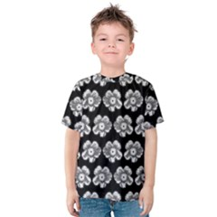 White Gray Flower Pattern On Black Kids  Cotton Tee