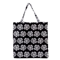 White Gray Flower Pattern On Black Grocery Tote Bag