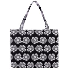 White Gray Flower Pattern On Black Mini Tote Bag