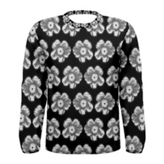 White Gray Flower Pattern On Black Men s Long Sleeve Tee