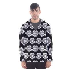 White Gray Flower Pattern On Black Hooded Wind Breaker (Men)