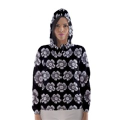White Gray Flower Pattern On Black Hooded Wind Breaker (Women)