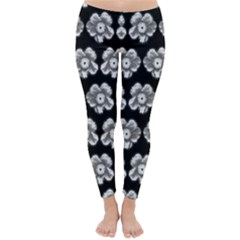 White Gray Flower Pattern On Black Classic Winter Leggings