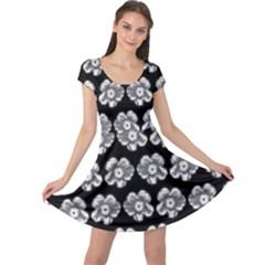 White Gray Flower Pattern On Black Cap Sleeve Dresses