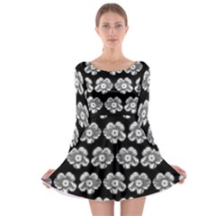 White Gray Flower Pattern On Black Long Sleeve Skater Dress