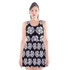 White Gray Flower Pattern On Black Scoop Neck Skater Dress