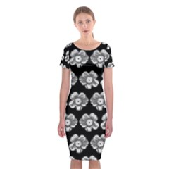 White Gray Flower Pattern On Black Classic Short Sleeve Midi Dress