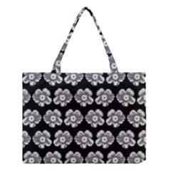 White Gray Flower Pattern On Black Medium Tote Bag