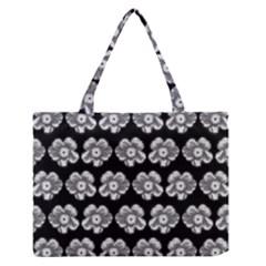 White Gray Flower Pattern On Black Medium Zipper Tote Bag