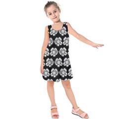 White Gray Flower Pattern On Black Kids  Sleeveless Dress