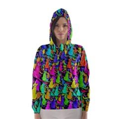 Colorful cats Hooded Wind Breaker (Women)