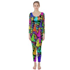 Colorful cats Long Sleeve Catsuit
