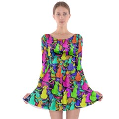 Colorful cats Long Sleeve Skater Dress