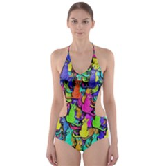 Colorful cats Cut-Out One Piece Swimsuit