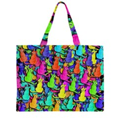 Colorful cats Zipper Large Tote Bag
