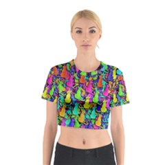 Colorful cats Cotton Crop Top