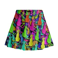 Colorful cats Mini Flare Skirt