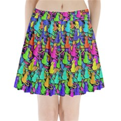 Colorful cats Pleated Mini Skirt