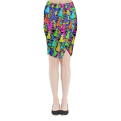 Colorful cats Midi Wrap Pencil Skirt