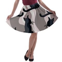 Elegant cats A-line Skater Skirt