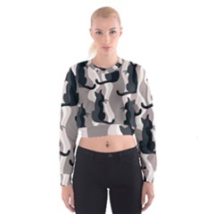 Elegant cats Women s Cropped Sweatshirt