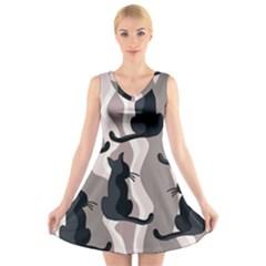 Elegant cats V-Neck Sleeveless Skater Dress