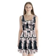 Elegant cats Split Back Mini Dress