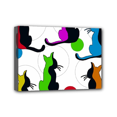 Colorful abstract cats Mini Canvas 7  x 5