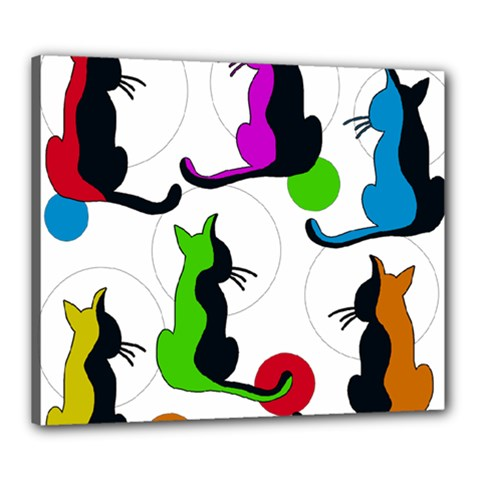 Colorful abstract cats Canvas 24  x 20