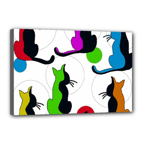 Colorful abstract cats Canvas 18  x 12