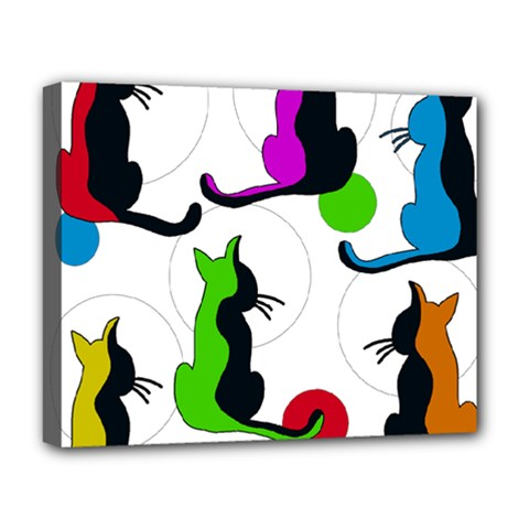 Colorful abstract cats Deluxe Canvas 20  x 16