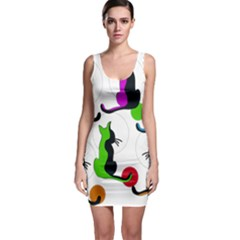 Colorful abstract cats Sleeveless Bodycon Dress