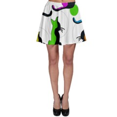 Colorful abstract cats Skater Skirt