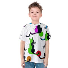 Colorful abstract cats Kids  Cotton Tee