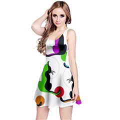 Colorful abstract cats Reversible Sleeveless Dress