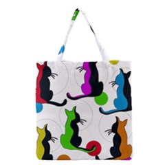 Colorful abstract cats Grocery Tote Bag