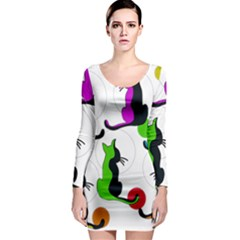 Colorful abstract cats Long Sleeve Bodycon Dress