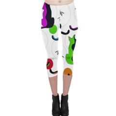 Colorful abstract cats Capri Leggings