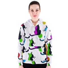 Colorful abstract cats Women s Zipper Hoodie