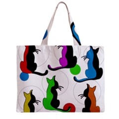 Colorful abstract cats Zipper Mini Tote Bag