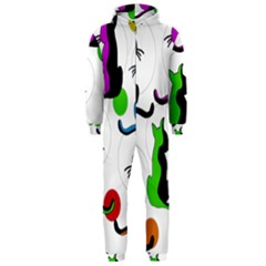 Colorful abstract cats Hooded Jumpsuit (Men)