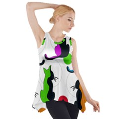 Colorful abstract cats Side Drop Tank Tunic