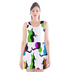Colorful abstract cats Scoop Neck Skater Dress