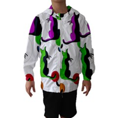 Colorful abstract cats Hooded Wind Breaker (Kids)